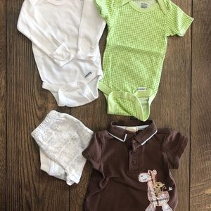 Baby Boy Clothing Bundle - 2 Onesies, Shirt, Pants